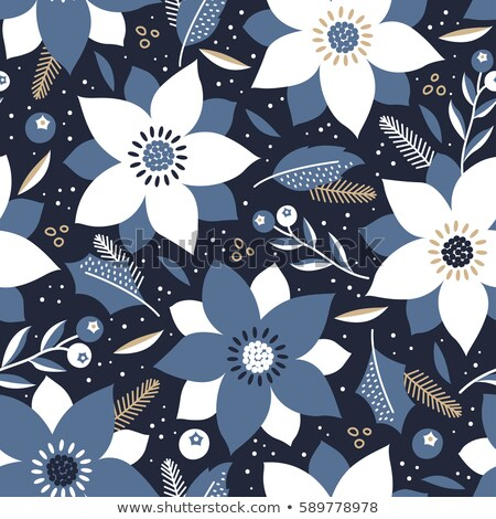 repeating white blue christmas floral pattern stock photo © olgadrozd