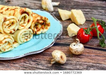 Słony naleśniki grzyby ser śmietana żywności Zdjęcia stock © doupix