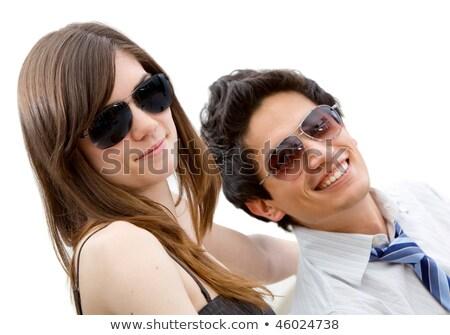 оптимистичный · женщину · Солнцезащитные · очки · изолированный · белый - Сток-фото © stryjek