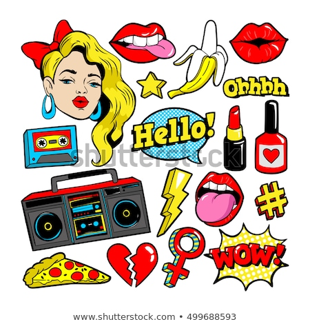 pop art lips and kissing background stock photo © lordalea
