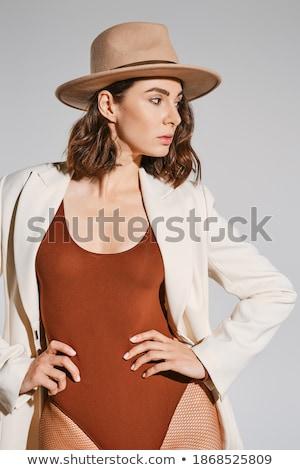 Retrato mulher jovem fishnet meia-calça sessão foco Foto stock © pxhidalgo