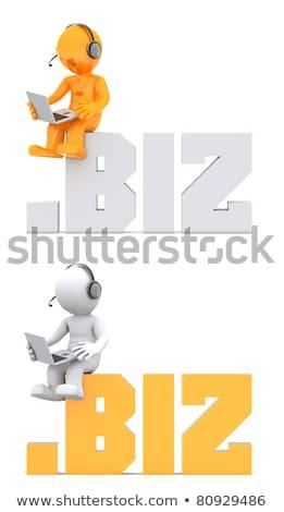 3d character sitting on biz domain sign stock photo © kirill_m