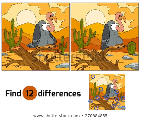 Kids puzzle of a desert tree difference Stock photo © adrian_n
