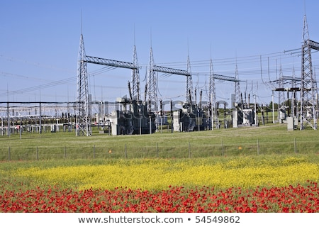 Elektromos transzformátor állomás gyönyörű tájkép égbolt Stock fotó © meinzahn