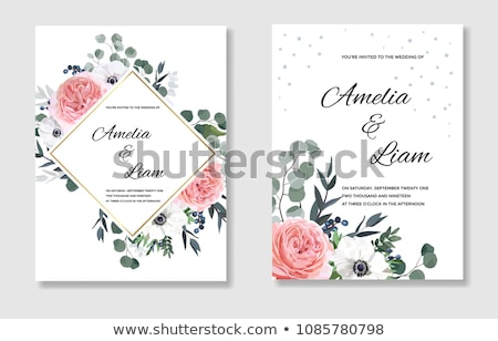 happy wedding invitation card in vintage style vector illustration stock photo © carodi