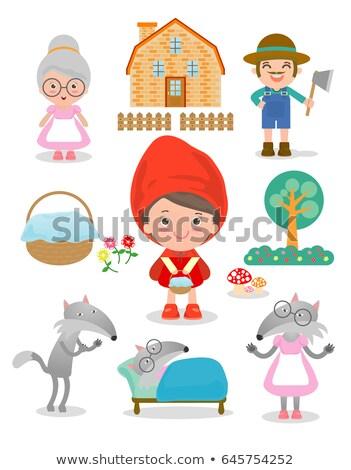 mały · czerwony · jazda · konna · funny · cartoon · drzewo - zdjęcia stock © izakowski