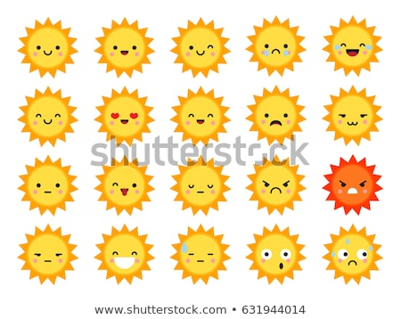 set of suns with different emotions smiling and sad suns stock photo © elenapro
