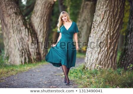 Gorgeous blond nymph walking in the forest Stock photo © konradbak