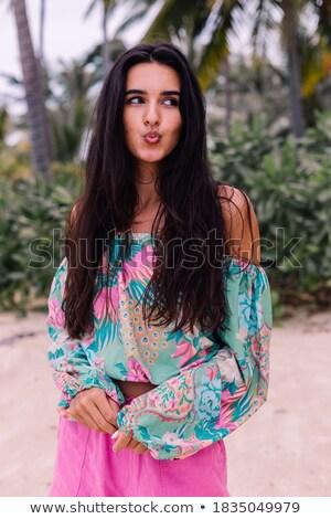 schoonheid · vrouw · tropische · bos · water · handen - stockfoto © konradbak