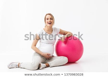 sourire · s'adapter · jeune · femme · posant · exercice · balle - photo stock © darrinhenry