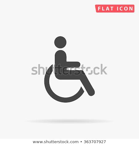 handicapées · icône · noir · bouton · homme · fond - photo stock © aliaksandra
