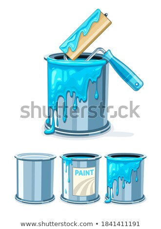 Can bucket with blue paint and roller for painting maintenance Stock photo © LoopAll
