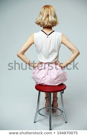 小さな · セクシーな女性 · ミニ · ドレス · 美人 · ポーズ - ストックフォト © deandrobot