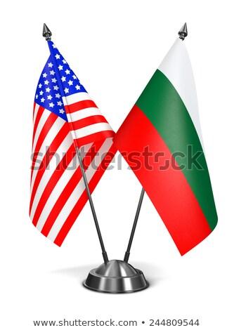 США Болгария миниатюрный флагами изолированный белый Сток-фото © tashatuvango