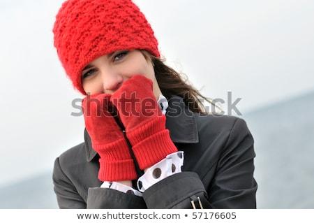 mulher · vestido · vermelho · cara · feminino - foto stock © feedough
