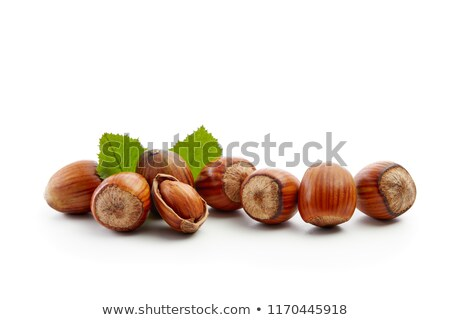 hazelnoten · voedsel · licht · tabel · groep · plaat - stockfoto © oleksandro