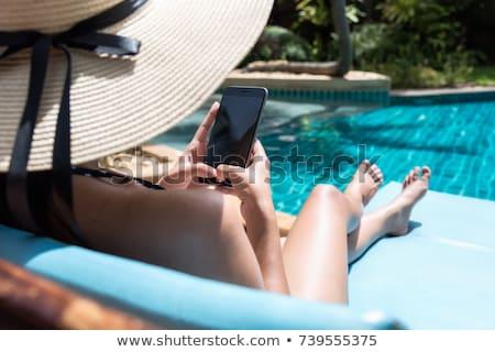 Mooie modieus vrouw zwembad gekleurd Stockfoto © dashapetrenko