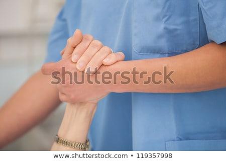 Idős kezek orvosi vizsgálat közelkép kéz Stock fotó © barabasa