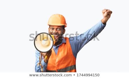 człowiek · reklamy · megafon · teraz · rekrut - zdjęcia stock © fuzzbones0