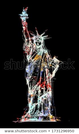 Couleur pour aquarelle art imprimer statue liberté USA Photo stock © chris2766