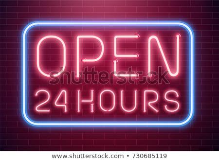 24 Hours Open Green Vector Icon Design Stock photo © rizwanali3d