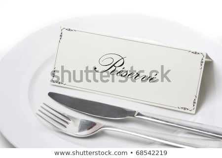 Reserved sign in french on plate Stock photo © hfng