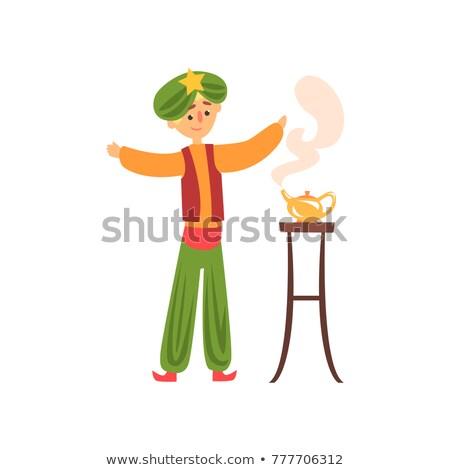 Man Summoning a Genie From a Magic Lamp, illustration Stock photo © Morphart