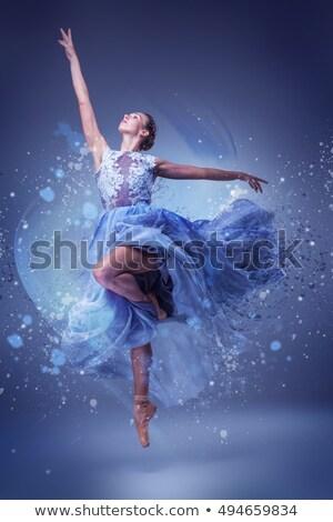 美しい · バレリーナ · ダンス · 青 · 長い · ドレス - ストックフォト © master1305