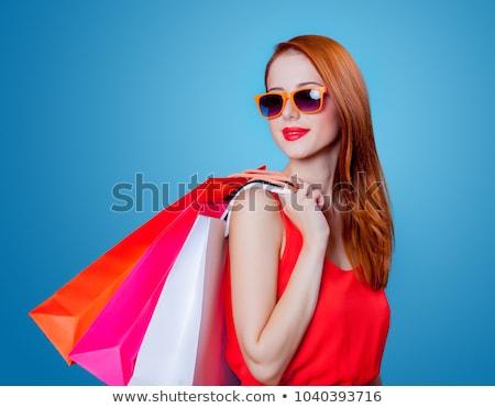 zakupy · dziewczyna · różowy · odizolowany - zdjęcia stock © morphart