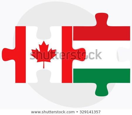 Canadá Hungria bandeiras quebra-cabeça isolado branco Foto stock © Istanbul2009