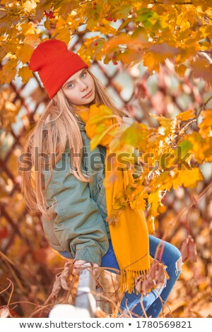 portrait of smiling girl with bright scarf in sunny autumn day stock photo © paha_l
