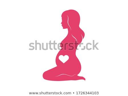 Térdel terhes nő nők fehérnemű fehér terhesség Stock fotó © phbcz