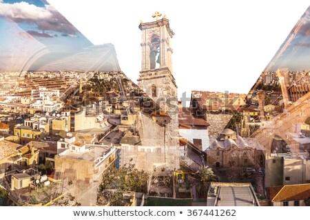 Verdubbelen blootstelling Cyprus gebouw abstract landschap Stockfoto © Kirill_M