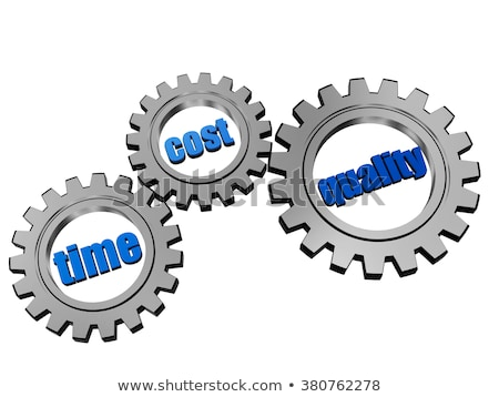 Time Cost Quality In Silver Grey Gears Foto stock © marinini