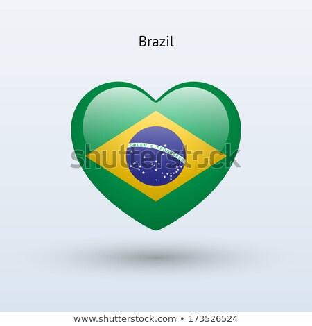 Brezilya kalp bayrak ikon sevmek simge Stok fotoğraf © netkov1