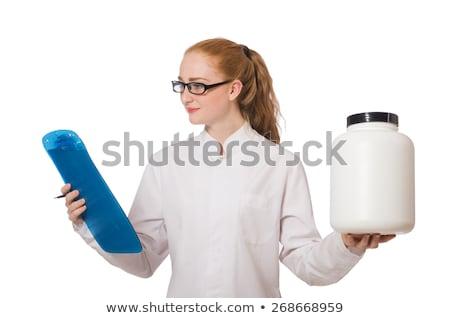 Csinos női orvos tart napló izolált Stock fotó © Elnur