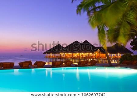 Trópusi bungaló tenger nyár pálma napfelkelte Stock fotó © attilafazekas