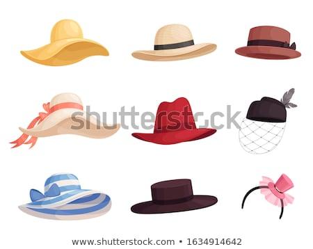 kız · hasır · şapka · güzel · genç · kadın · ayakta · geri - stok fotoğraf © runzelkorn