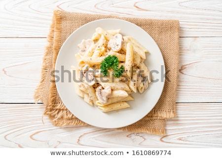 Kremsi sos girdap kaşık sarı Stok fotoğraf © Digifoodstock