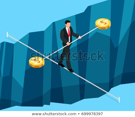 3d businessman walking on a rope stock photo © 3dmask