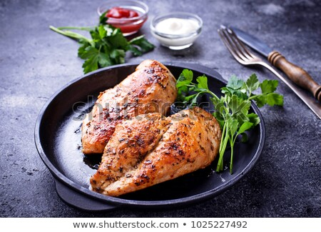 Ail poitrine de poulet plaque viande savoureux Photo stock © Digifoodstock