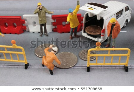 Kicsi dolgozik miniatűr építkezés térkép utca Stock fotó © compuinfoto
