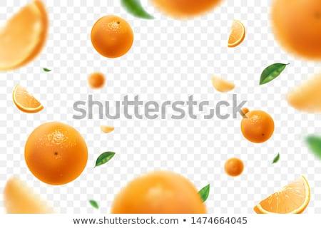 een · sinaasappelen · half · sappig · voedsel · blad - stockfoto © camel2000