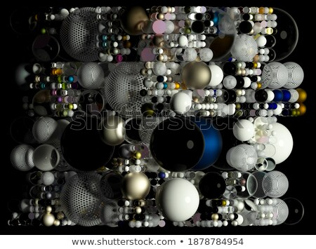 golden sphere and many steel cubes stock photo © monarx3d