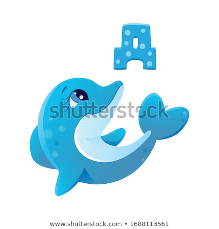 A sea with a big dolphin and a school of small fishes Stock photo © bluering