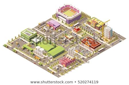 izometryczny · stacja · benzynowa · budynku · wektora · stacja · model - zdjęcia stock © tele52