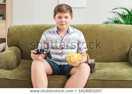 Sobrepeso nino ilustración comer de comida rápida dieta Foto stock © adrenalina