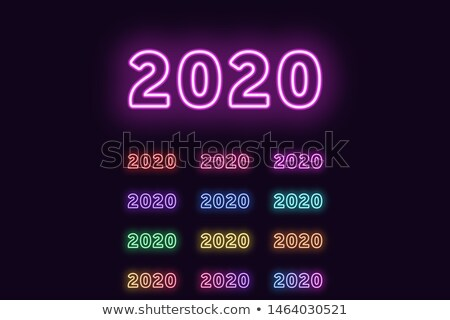 Glowing Neon Azure Blue Numbers Stock photo © Voysla