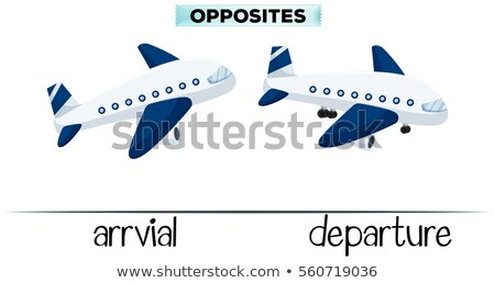 Flashcard for opposite words arrival and departure Stock photo © bluering