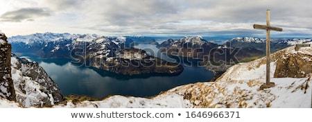 Wooden cross on snow capped mountain hill Stock photo © stevanovicigor